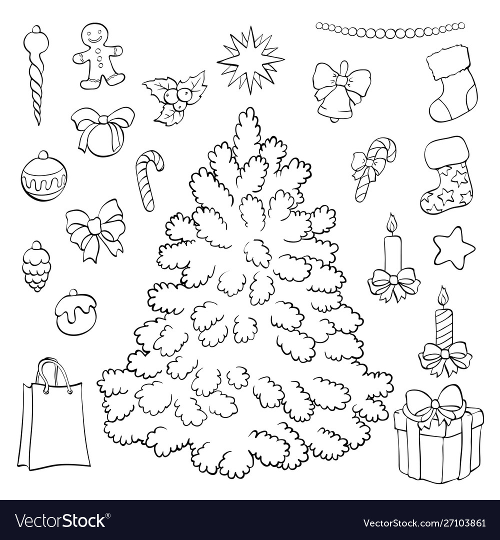 - Coloring Book Christmas Tree With Decorations Vector Image