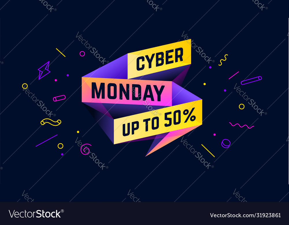 Cyber monday 3d sale banner with text cyber