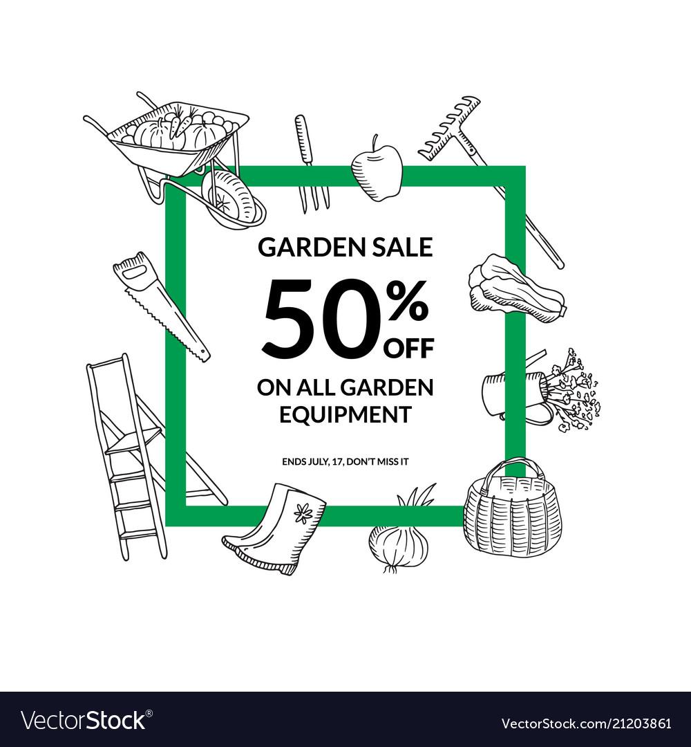 Frame gardening doodle icons