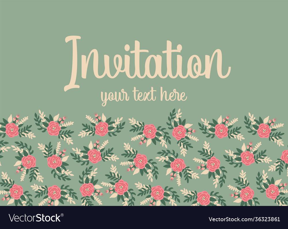 Invitation card template flat flowers cute