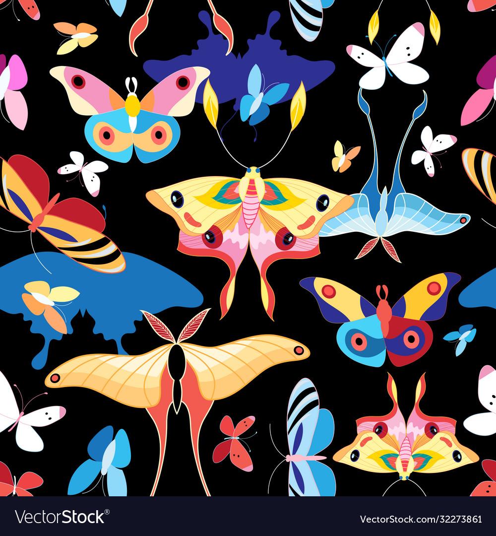 Pattern multicolored butterflies