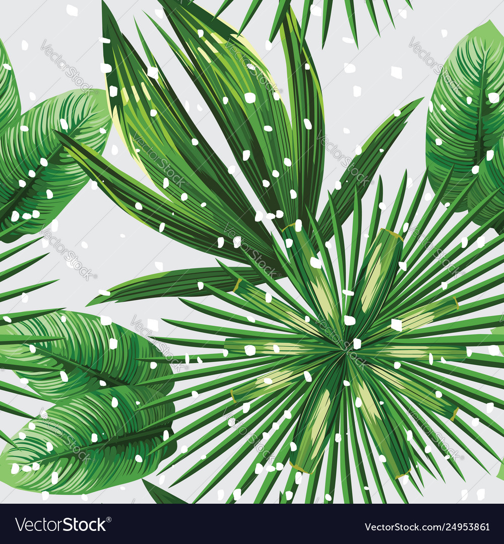 Tropical leaves pattern snow