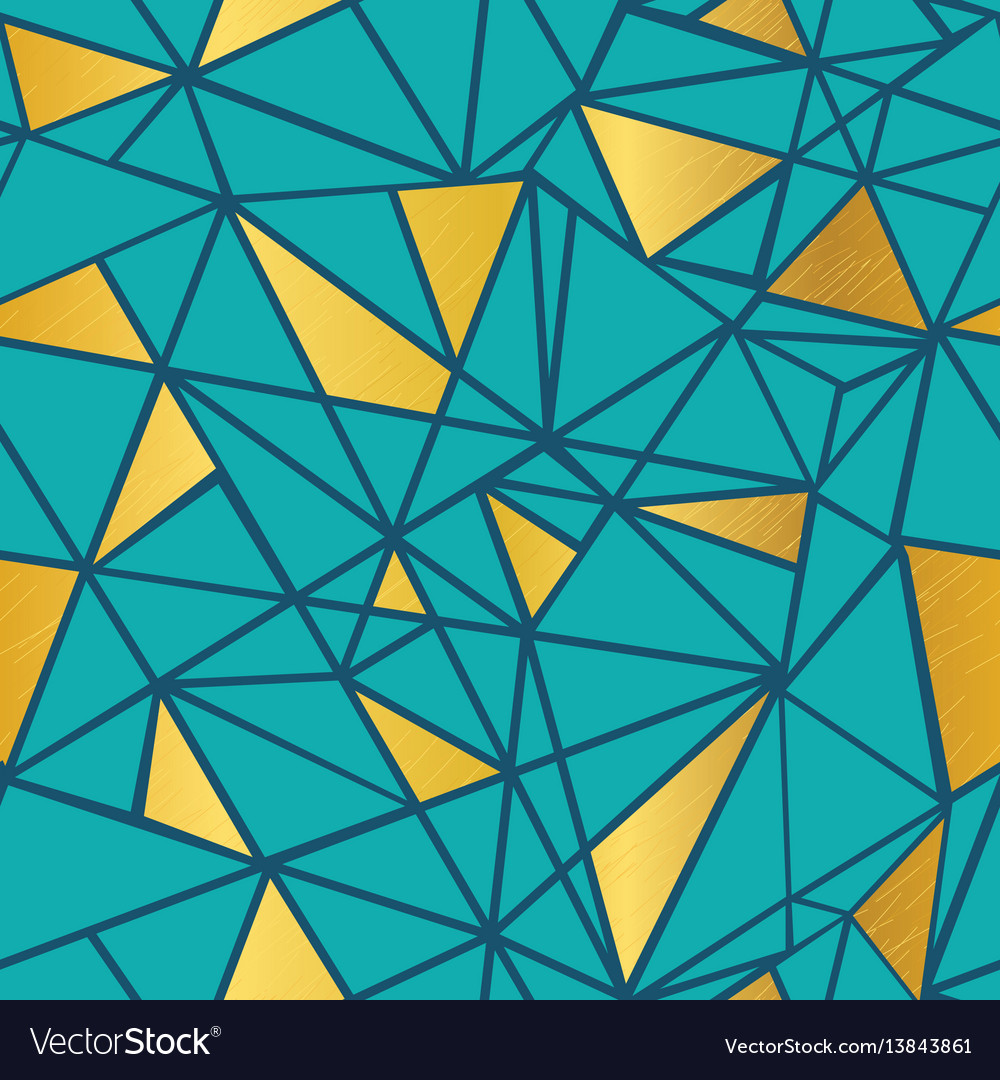 Turquoise blue and gold foil geometric