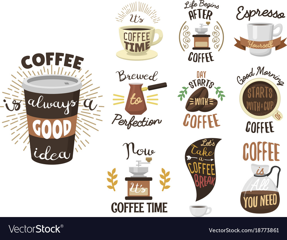 Vintage coffee shop labels ribbon logo and badges vector image