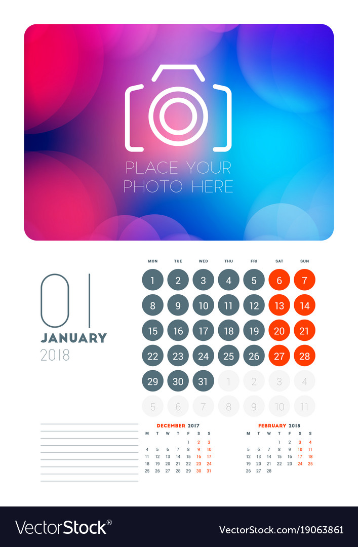Wall Calendar Planner Template For January 2018 Vector Image