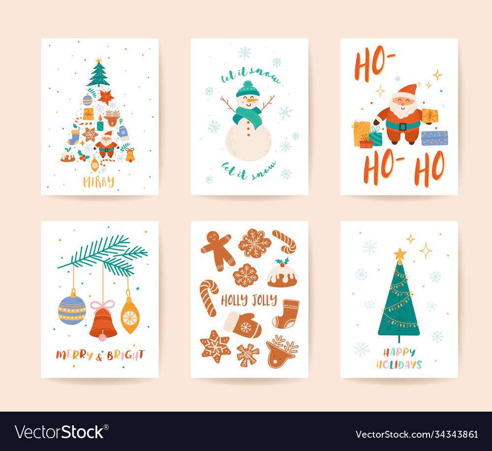 Winter xmas greeting card template merry