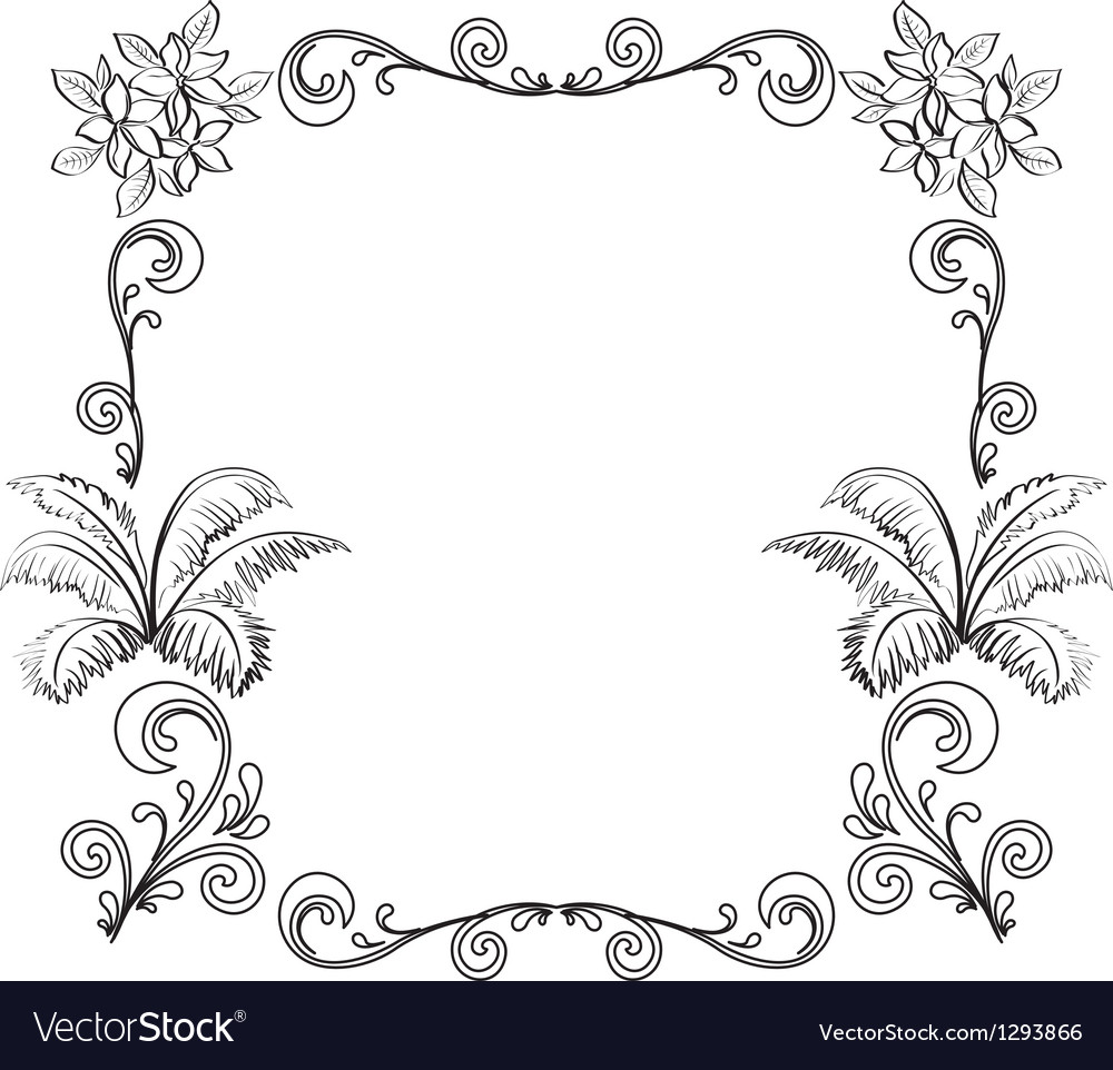 Abstract Floral Background Outline