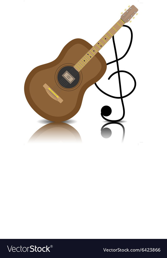 Acoustic guitar with a treble clef