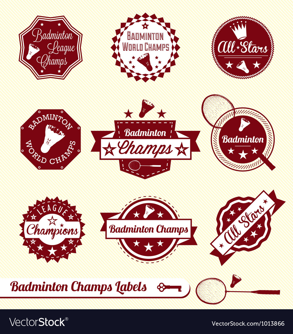 Badminton Labels vector image
