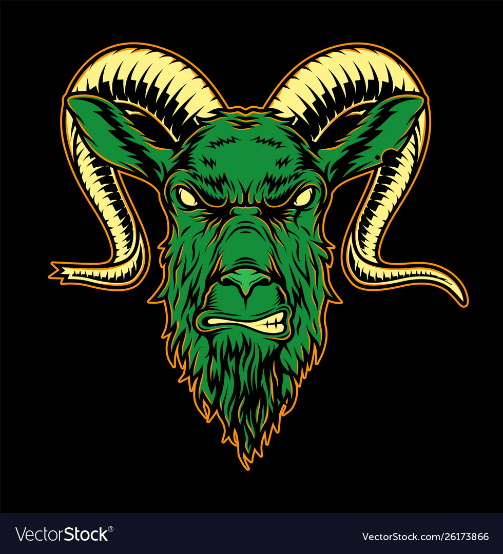 Colorful angry goat head template