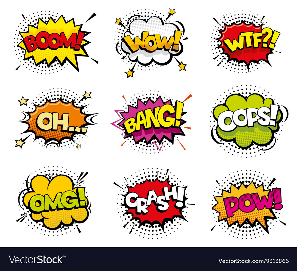 comic sound effects in pop art style royalty free vector