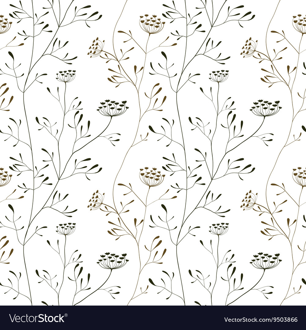 Cow parsnip seamless pattern on white backdrop