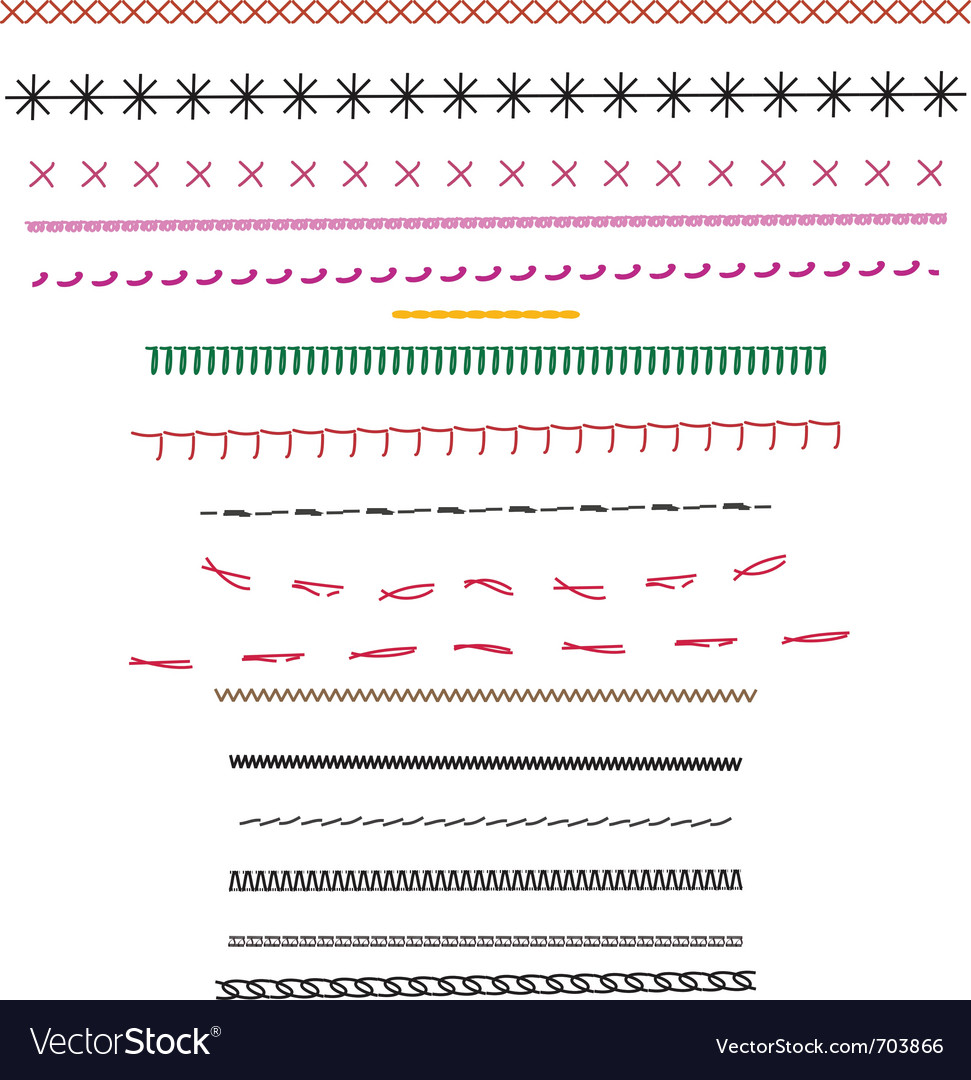 Fashion design stitching source brushes vector image