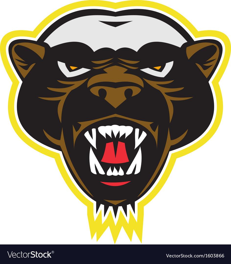 honey badger mascot head royalty free vector image