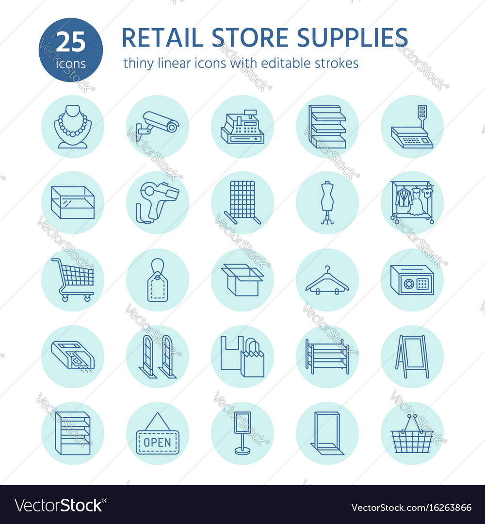 Retail store supplies line icons trade shop