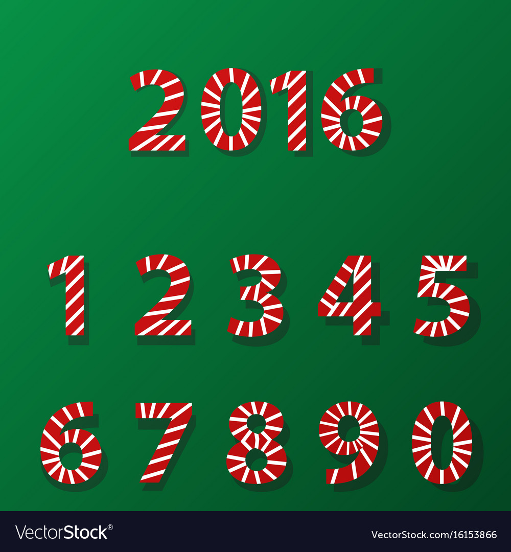 Set of number in candy cane style