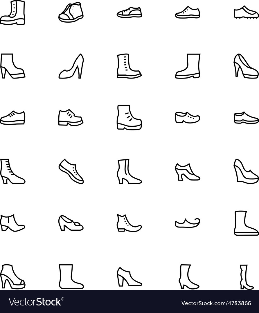 Shoes Line Icons 1 vector image