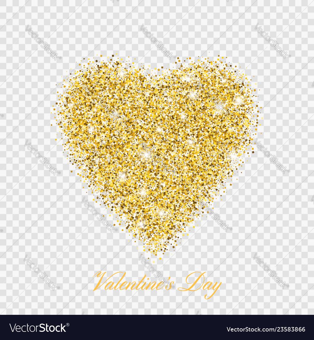 Valentine day gold glitter shiny heart