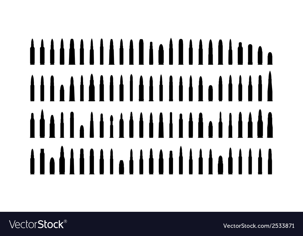 Ammunition silhouettes set