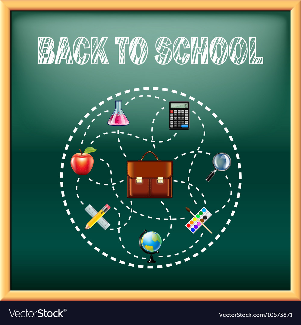 Back to school concept with tools on green