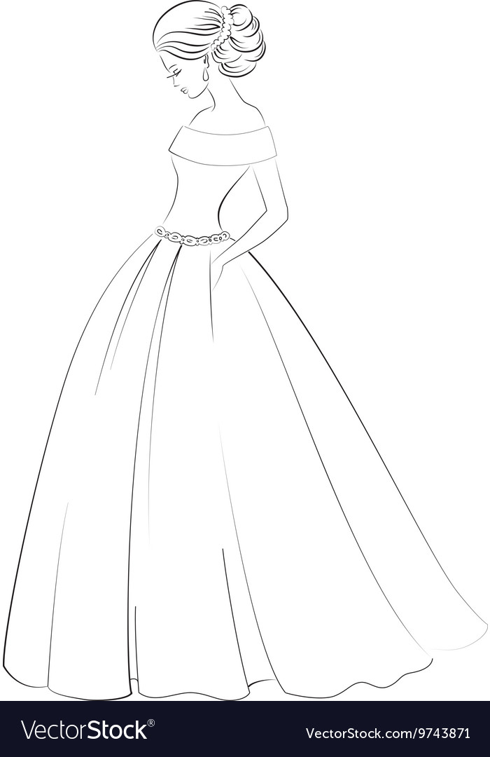 Bride model contour outline of pretty young woman