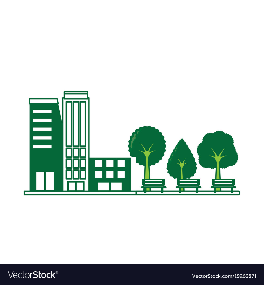 buildings and a park icon royalty free vector image vectorstock