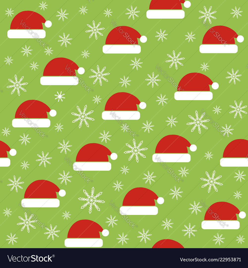 Christmas seamless pattern with santa hats