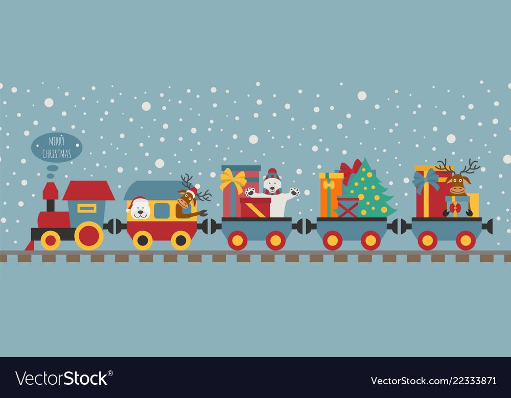 Christmas train with bear reindeer gifts seamless