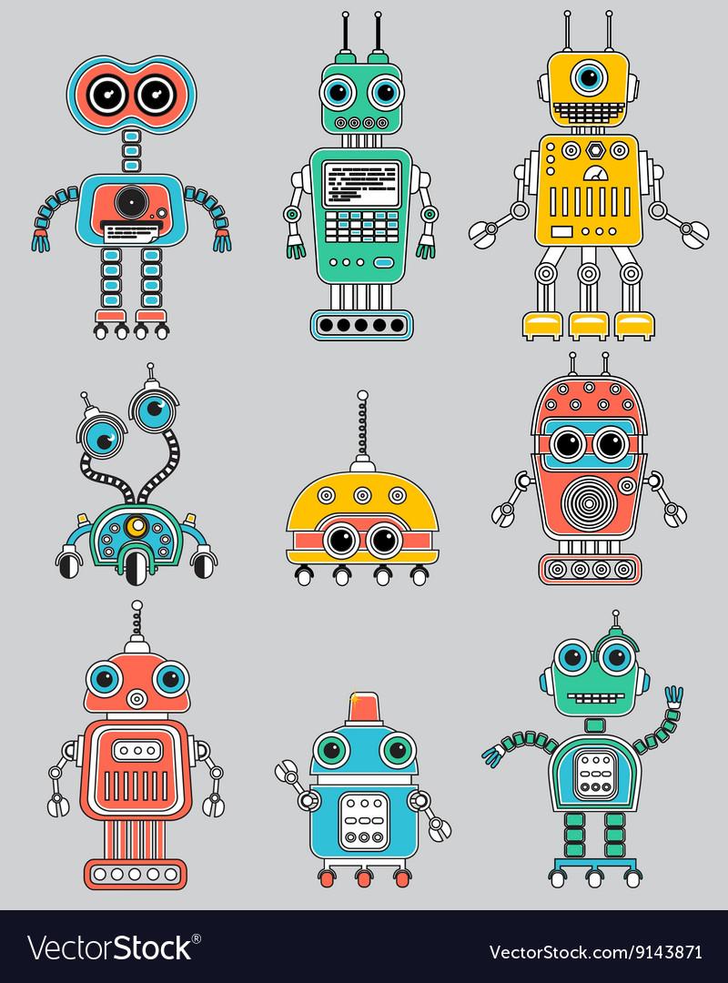 Colorful cut retro robots set