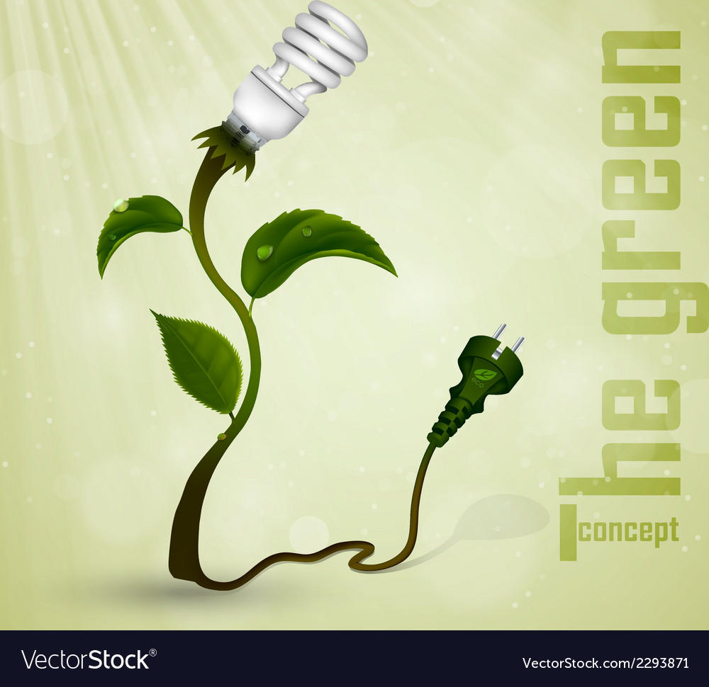 Green plug with leaves and planet