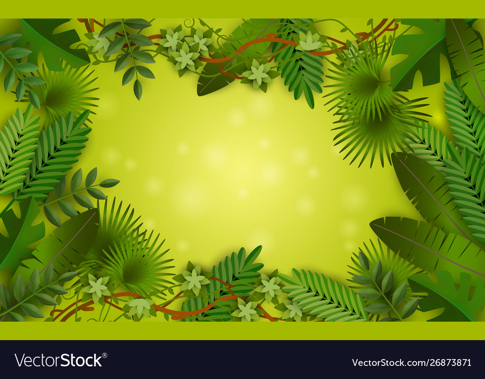Green tropical jungle frame with lush colorful