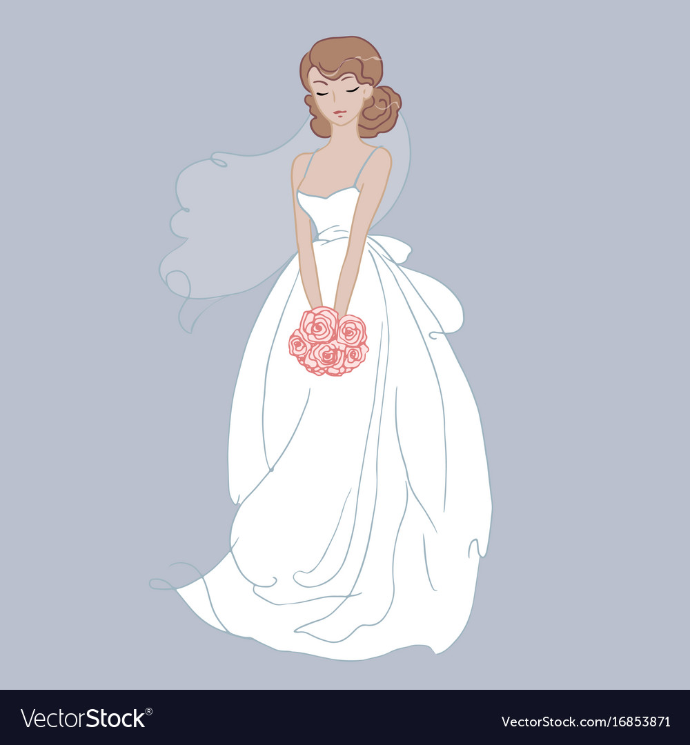 Hand drawn beautiful bride with a flower bouquet