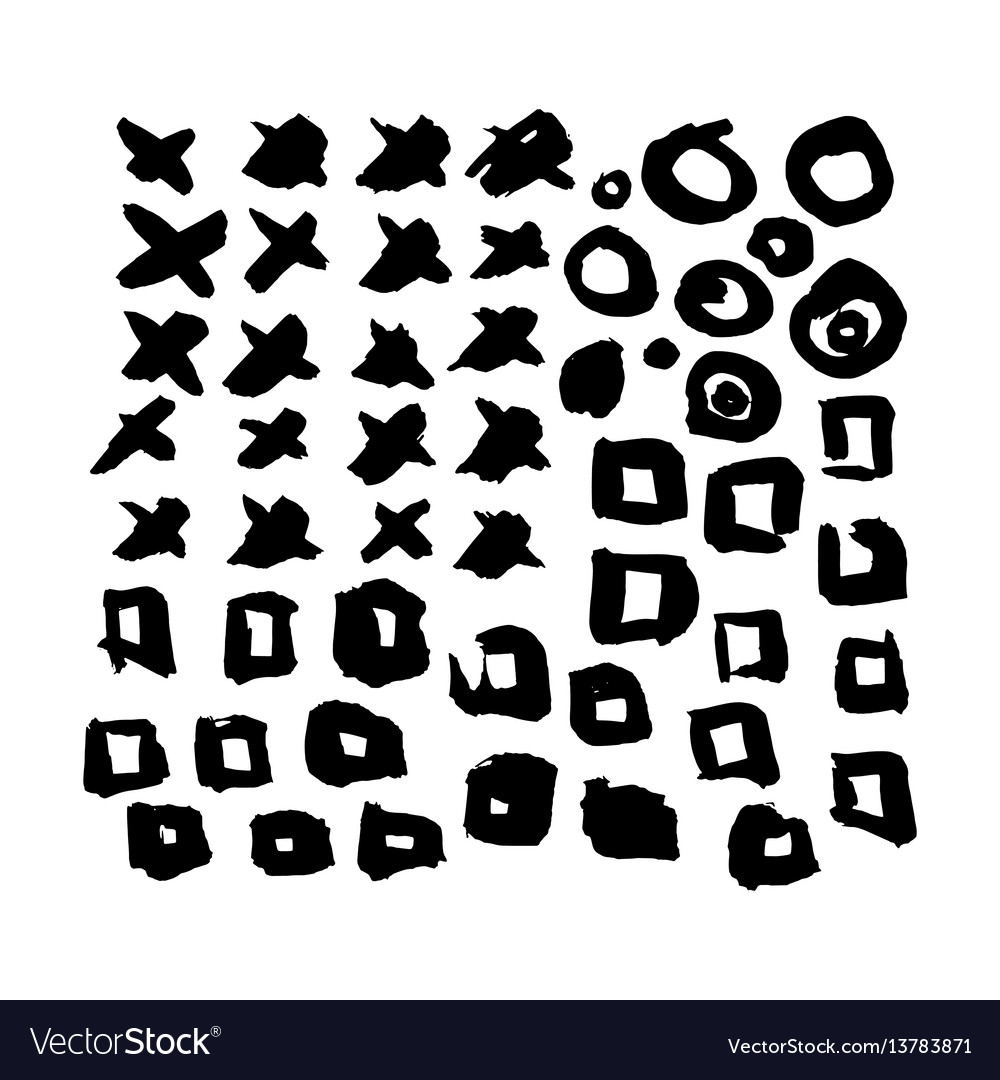 Hand drawn grunge brush elements vector image
