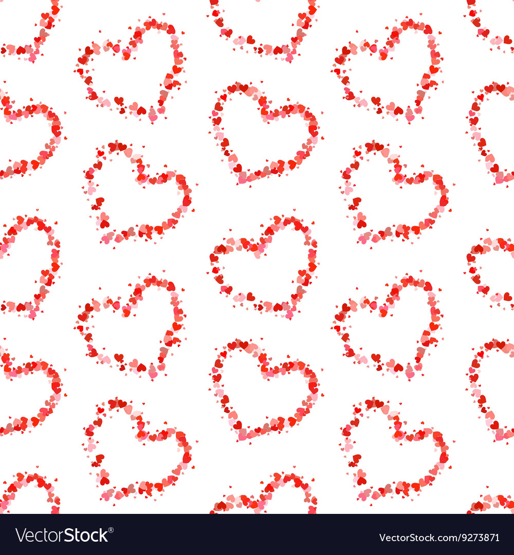 Hearts contours made up of little pink hearts on