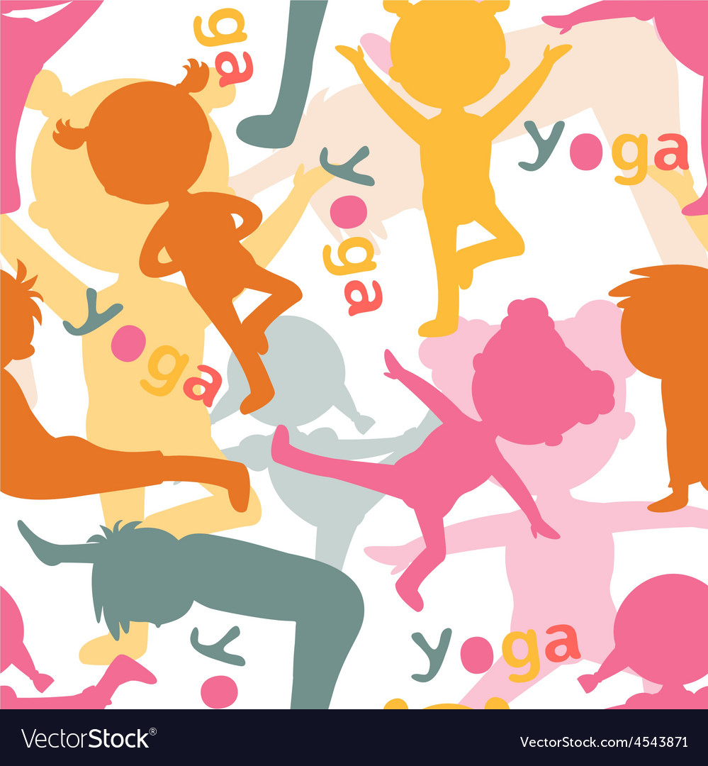 Kids doing yoga silhouettes pattern