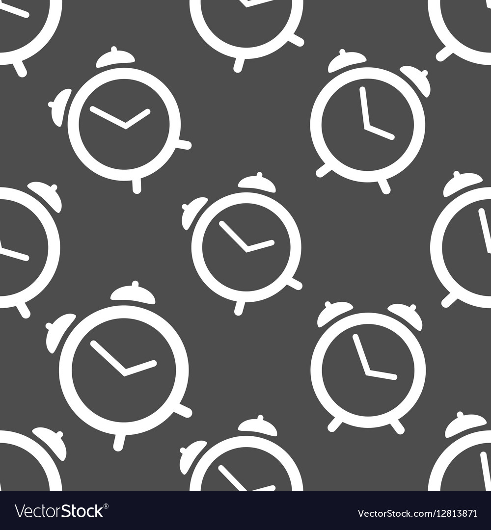 Pattern seamless with alarm clock vector image