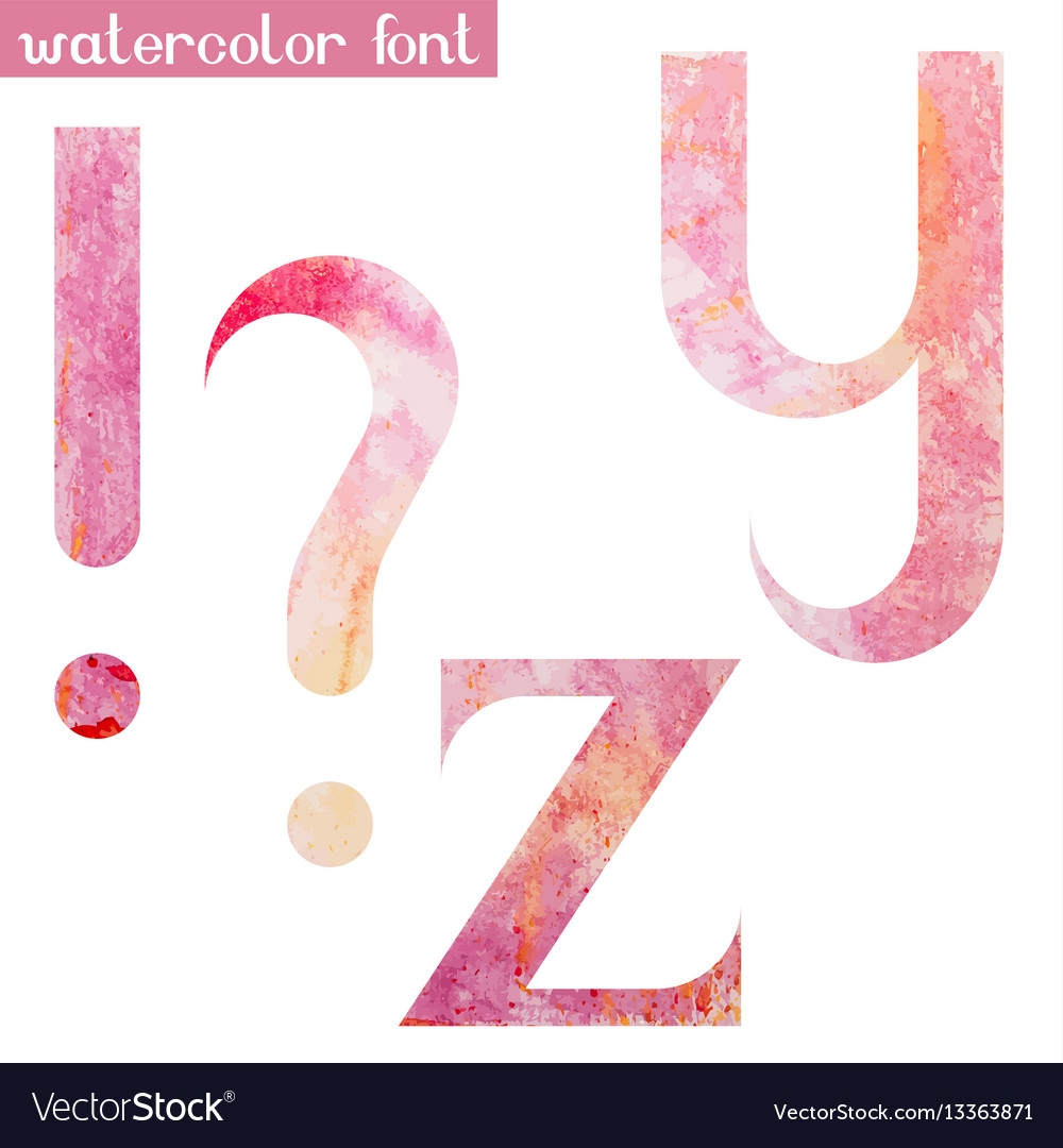 Pink spring watercolor font yz and marks vector image