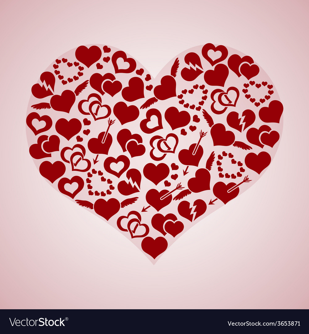 Red Valentine Hearth Love Symbols In Big Hearth Vector Image
