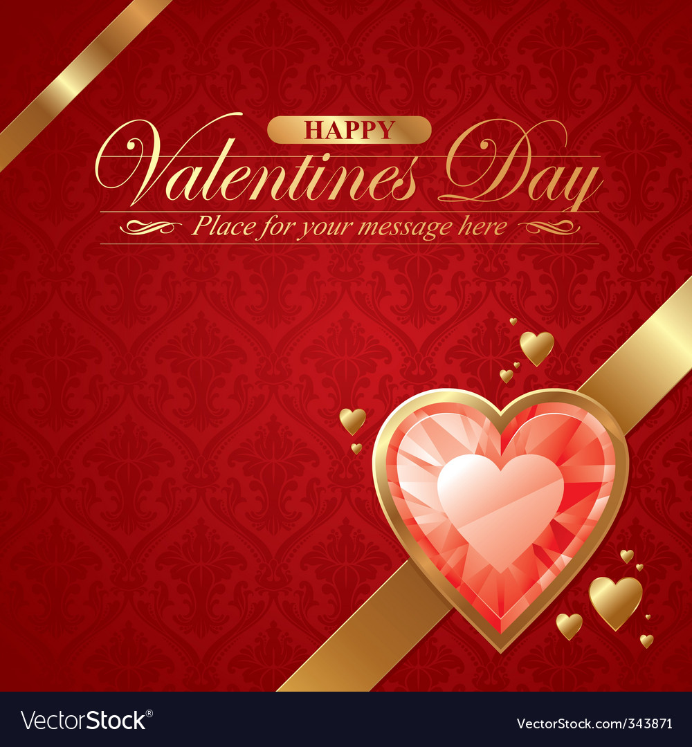 Ruby hearts in golden frame vector image