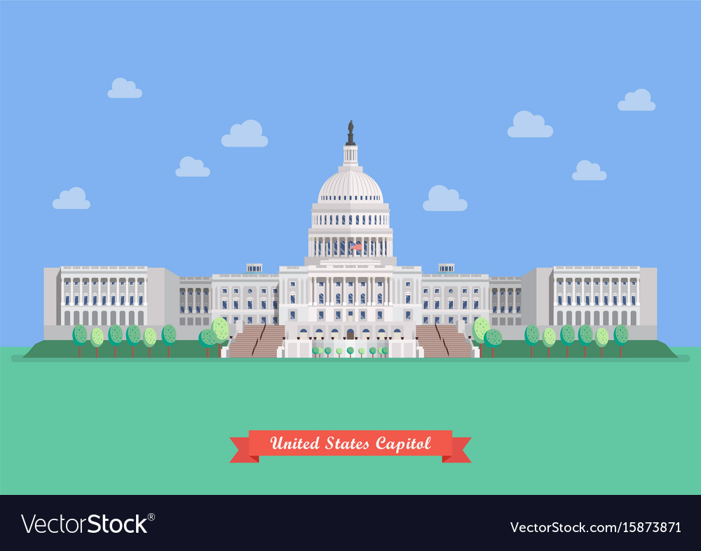 United states capitol in flat style design
