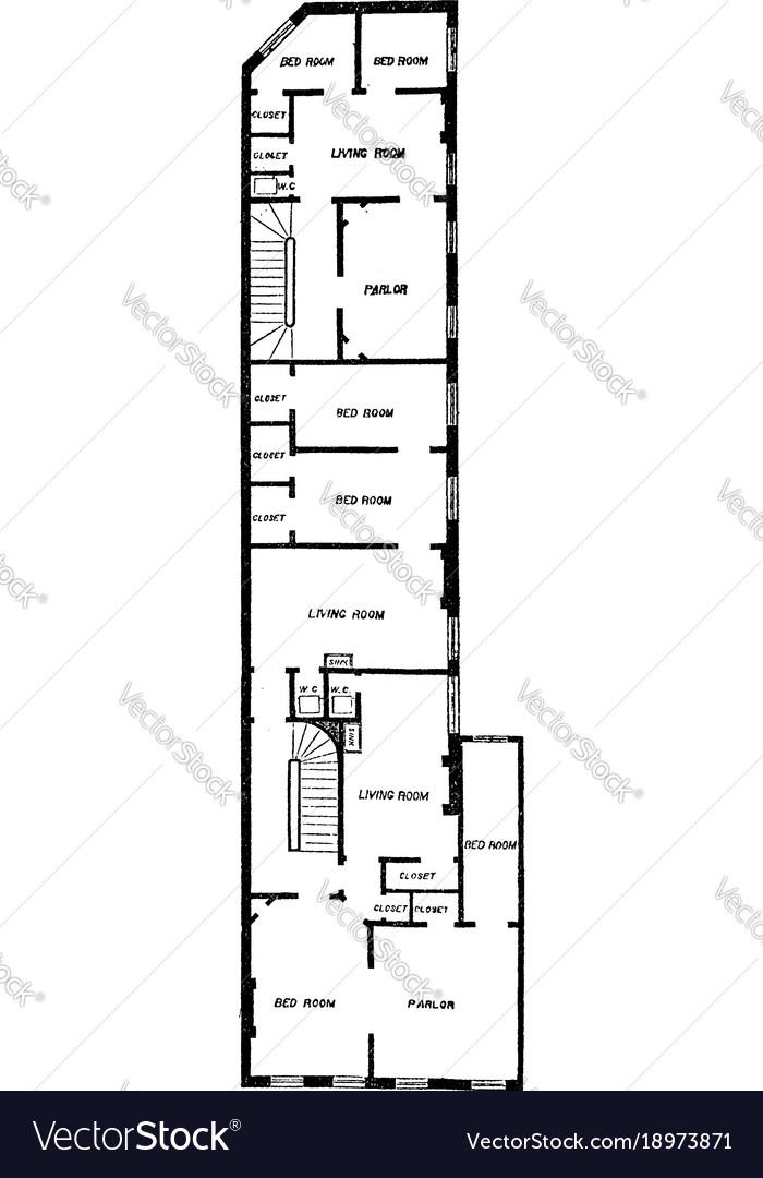Upper floor plan of flat or utilities vintage