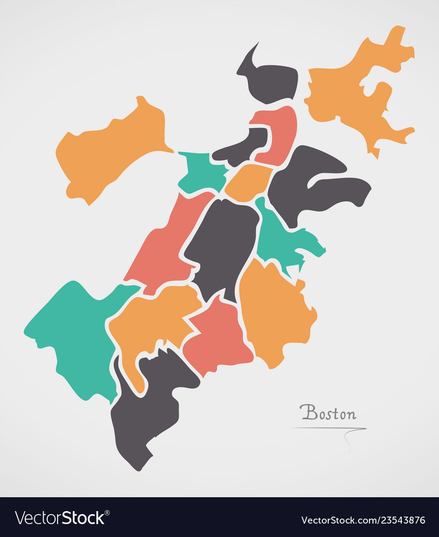 Picture of: Boston Massachusetts Map With Neighborhoods And Vector Image