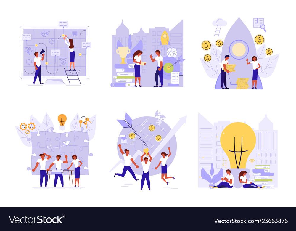 Business people building a new idea