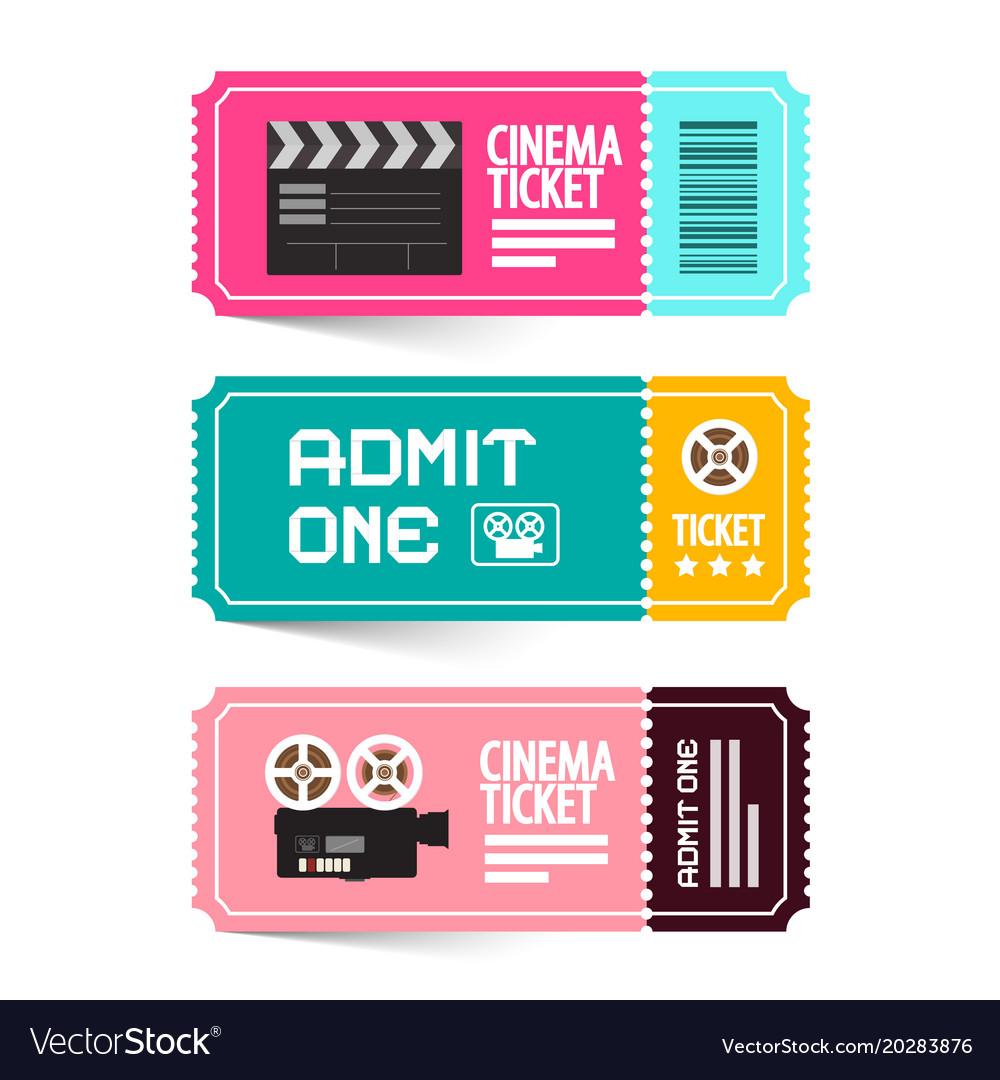 Cinema ticket admit one movie flat design tickets