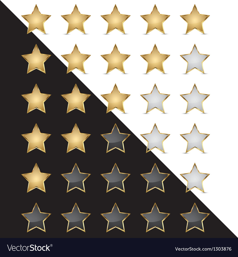 Elegant Golden Rating Stars vector image