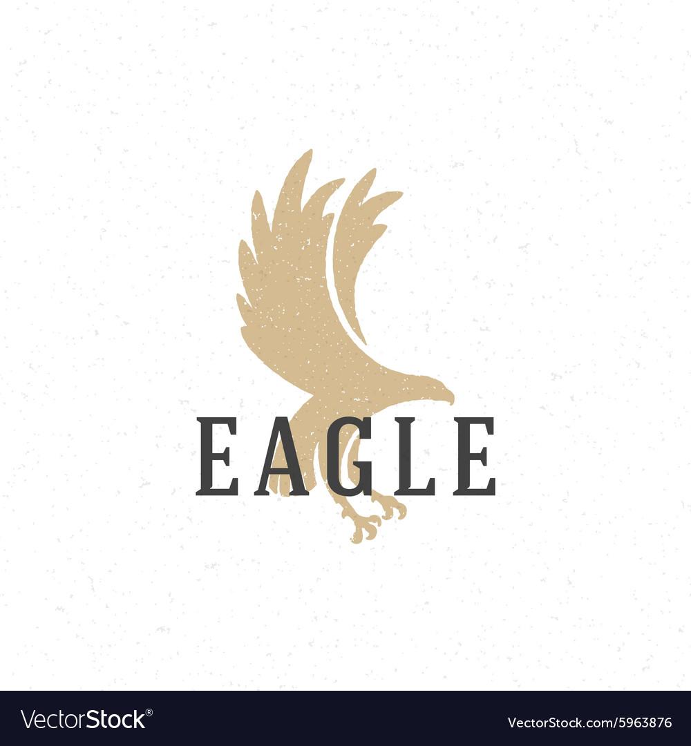 Flying Eagle hand drawn logo emblem template vector image