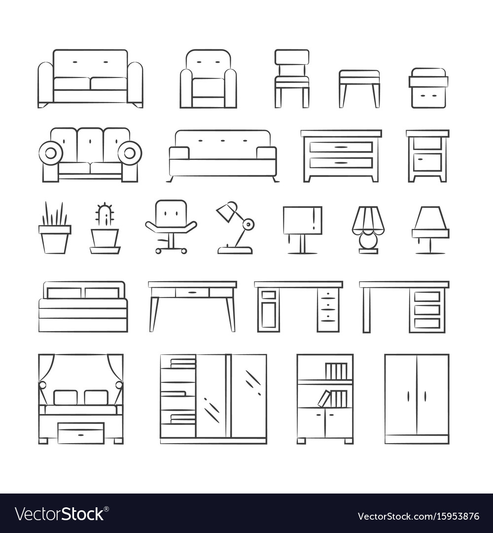 Hand drawn living room furniture icons on white