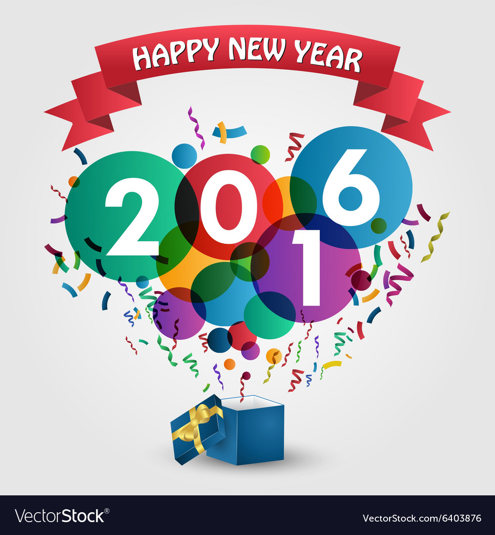 Happy new year 2016 celebration with gift box