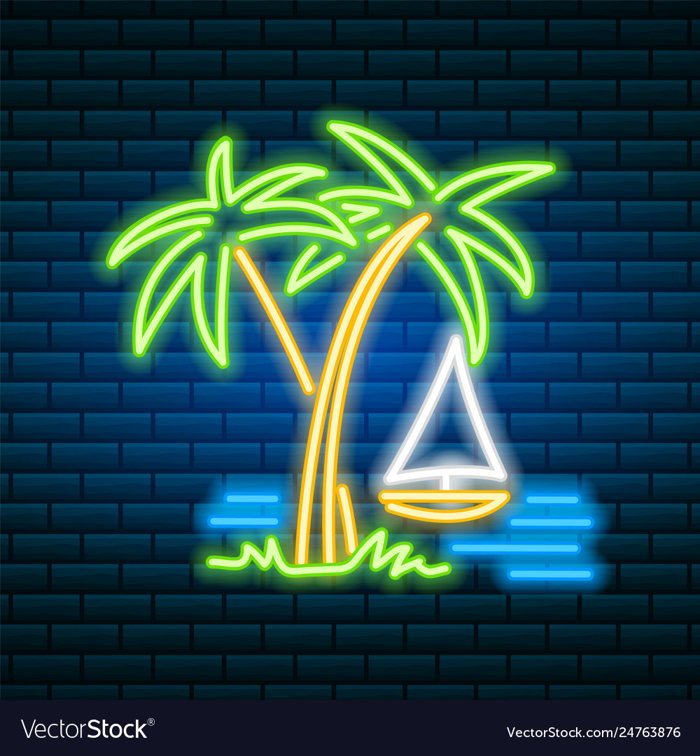 Neon palm tropical sign summer plant leaves