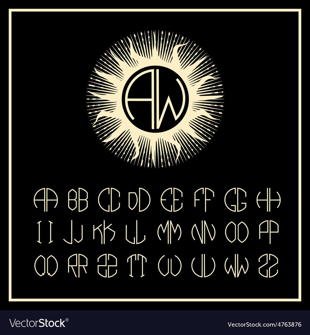 Outline sun monogram icons and logo Art Nouveau vector image